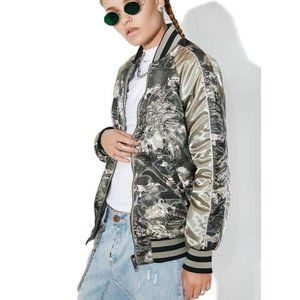 Members Only Satin Floral Reversible Bomber Jacket